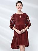 povoljno Ženske haljine-Žene Skater kroj Haljina Jednobojni / Cvjetni print Midi