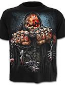 baratos Camisetas & Regatas Masculinas-Homens Camiseta Caveira Exagerado Estampado, Estampa Colorida Caveiras Preto e Vermelho