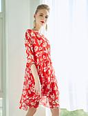 זול שמלות נשים-מעל הברך גיאומטרי - שמלה סווינג בגדי ריקוד נשים