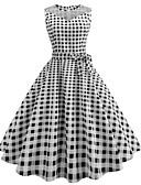 זול חולצה-עד הברך דפוס, משובץ דמקה - שמלה סווינג וינטאג' בגדי ריקוד נשים