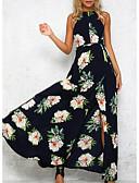 baratos Vestidos Estampados-Mulheres Bainha Vestido Floral Longo