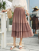 tanie Bluzka-Damskie Maxi Linia A Spódnice - Wyjściowe Solidne kolory