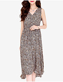 povoljno Ženske haljine-Žene Osnovni Slim Šifon Haljina - Print, Leopard V izrez Midi