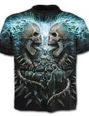 ieftine Bluză-Bărbați Mărime Plus Size Tricou Bumbac Exagerat - Cranii Imprimeu / Manșon scurt
