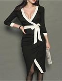 ieftine Rochii de Damă-Pentru femei Draguț Mărime Plus Size Bumbac Pantaloni - Mată Alb negru, Plisată Negru / Mâneci Bufante