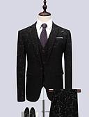 ieftine Blazer & Costume de Bărbați-Bărbați Rever Clasic Zvelt Costume Petrecere Business Formal-Geometric / Manșon Lung