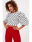 ieftine Tricou-Pentru femei Stil Nautic Tricou Plajă Buline / Zvelt