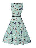 tanie Sukienki-Damskie Wyjściowe Zabytkowe Bawełna Szczupła Sukienka swingowa Sukienka - Zwierzę Do kolan / Wiosna