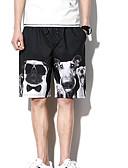 povoljno Muške duge i kratke hlače-Muškarci Osnovni Kratke hlače Hlače - Životinja Print Crn / Ljeto