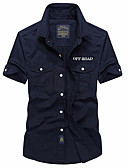cheap Women's Tanks-Men's Linen Shirt - Solid Colored / Short Sleeve