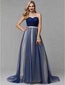 Χαμηλού Κόστους Βραδινά Φορέματα-Γραμμή Α Καρδιά Ουρά μέτριου μήκους Σατέν / Τούλι Μπλοκ χρωμάτων Επίσημο Βραδινό Φόρεμα με Ζώνη / Κορδέλα / Πλαϊνό ντραπέ με TS Couture®