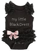 Χαμηλού Κόστους Μαγιό για κορίτσια-Μωρό Κοριτσίστικα Βασικό Καθημερινά Μονόχρωμο Lace Trim Αμάνικο Βαμβάκι Ένα Κομμάτι Μαύρο