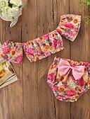 זול סטים של ביגוד לתינוקות-סט של בגדים קצר שרוולים קצרים דפוס פרחוני / דפוס חִנָנִית חגים פעיל / בסיסי בנות תִינוֹק