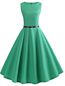 cheap Vintage Dresses-Women's Vintage / Basic Swing Dress - Solid Colored