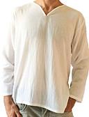 お買い得  メンズTシャツ&タンクトップ-男性用 Tシャツ Vネック ソリッド リネン / 長袖