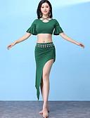 Χαμηλού Κόστους Ρούχα χορού της κοιλιάς-Χορός της κοιλιάς Σύνολα Γυναικεία Εκπαίδευση Μοντάλ Με διαδοχικές σούρες / Με χώρισμα Κοντομάνικο Χαμηλή Μέση Φούστες / Κορυφή