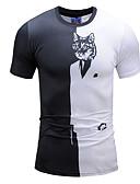 ieftine Maieu & Tricouri Bărbați-Bărbați Rotund Tricou Bloc Culoare / Animal / Manșon scurt