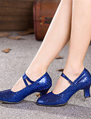 povoljno Vjenčanice-Žene Moderna obuća Sintetika Štikle Šljokice Kubanska potpetica Moguće personalizirati Plesne cipele Fuksija / Crvena / Plava