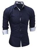 tanie Męskie koszule-Koszula Męskie Moda miejska Pled / Długi rękaw