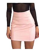 tanie Damska spódnica-Damskie Sztuczna skóra Mini Bodycon Spódnice - Wyjściowe Solidne kolory Wysoka talia
