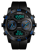 cheap Sport Watches-SKMEI Men's Sport Watch / Military Watch Japanese Alarm / Chronograph / Water Resistant / Water Proof PU Band Casual / Fashion Black / Three Time Zones / Stopwatch