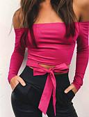 billige Jumpsuits og rompers til damer-Bateau-hals Dame - Ensfarvet Bomuld T-shirt
