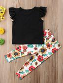 billige Tøjsæt til piger-Børn Pige Basale Ensfarvet / Blomstret Kortærmet Normal Bomuld / Polyester / Spandex Tøjsæt Sort