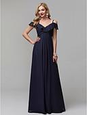 hesapli Gece Elbiseleri-A-Şekilli Spagetti Askılı Yere Kadar Şifon Pileler ile Balo / Resmi Akşam Elbise tarafından TS Couture® / Açık Sırtlı