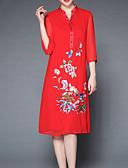 baratos Vestidos de Patinação no Gelo-Mulheres Básico Reto Vestido Sólido / Floral Médio