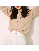 baratos Camisas Femininas-Mulheres Camisa Social Bordado, Sólido / Listrado