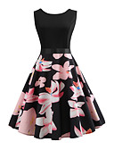 cheap Women's Dresses-Women's Vintage Swing Dress - Floral