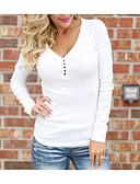 abordables Camisas y Camisetas para Mujer-Mujer Básico Noche Algodón Camiseta, Escote en Pico / Hombros Caídos Delgado Un Color / Verano