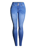 זול מכנסיים לנשים-בגדי ריקוד נשים בסיסי מידות גדולות כותנה סקיני ג'ינסים מכנסיים אחיד