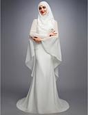 Χαμηλού Κόστους Νυφικά-Γραμμή Α Με Κόσμημα Ουρά μέτριου μήκους Σιφόν / Δαντέλα / Σατέν Φορέματα γάμου φτιαγμένα στο μέτρο με με LAN TING BRIDE®