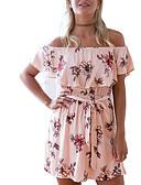 baratos Biquínis e Roupas de Banho Femininas-Mulheres Básico Calças - Floral Estampado Rosa / Decote Canoa / Ombro a Ombro