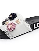 cheap Ice Skating Dresses , Pants & Jackets-Women's Shoes Denim Summer Comfort Slippers & Flip-Flops Flat Heel Open Toe Pearl / Satin Flower Black / Blue / Pink