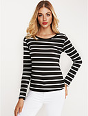 olcso Póló-Aktív Női Póló - Csíkos / Ősz / Tél / Fine Stripe