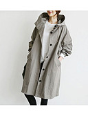 cheap Women's Dresses-Women's Cotton Trench Coat - Solid Colored / Fall