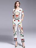 זול חליפות שני חלקים לנשים-מכנס דפוס, גיאומטרי - עליונית טנק פעיל / סגנון רחוב בגדי ריקוד נשים