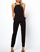 cheap Women's Jumpsuits & Rompers-Women's Daily / Work Basic Halter Neck Black Pencil Jumpsuit, Solid Colored Black L XL XXL Sleeveless