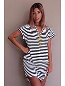 billige Topper til damer-V-hals T-skjorte Dame - Stripet Strand / Sommer