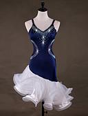 abordables Vestidos de Novia-Baile Latino Vestidos Mujer Rendimiento Licra / Organza Fruncido / Cristales / Rhinestones Sin Mangas Vestido