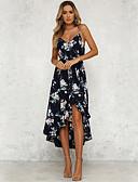 olcso Női ruhák-Női Boho Sifon / Swing Ruha - Nyomtatott, Virágos Aszimmetrikus