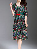povoljno Ženske haljine-Žene Osnovni Korice Haljina Cvjetni print Do koljena