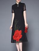 povoljno Ženske haljine-Žene Osnovni Korice Haljina Jednobojni / Cvjetni print Uski okrugli izrez Midi / Ljeto