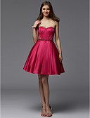 cheap Prom Dresses-A-Line Strapless Short / Mini Satin Cocktail Party Dress with Sash / Ribbon / Pleats by TS Couture®
