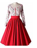 baratos Vestidos de Mulher-Mulheres Para Noite Vintage Algodão Evasê Vestido Floral Decote U Médio