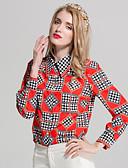 tanie Koszula-Koszula Damskie Vintage / Podstawowy Kołnierzyk koszuli Solidne kolory / Geometric Shape