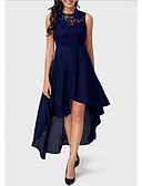 رخيصةأون دانتيل رومانسي-فستان نسائي قياس كبير متموج دانتيل غير متماثل لون سادة مناسب للحفلات