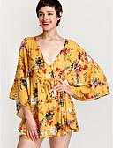 זול 2017ביקיני ובגדי ים-בגדי ריקוד נשים סגנון רחוב כותנה מכנסיים - אחיד דפוס צהוב / צווארון V / ליציאה / פרחוני